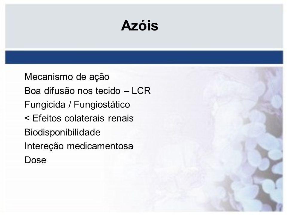 Azóis Mecanismo de ação Boa difusão nos tecido – LCR Fungicida / Fungiostático < Efeitos colaterais renais Biodisponibilidade Intereção medicamentosa