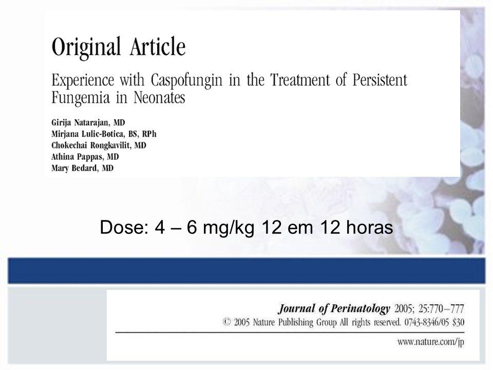 Dose: 4 – 6 mg/kg 12 em 12 horas