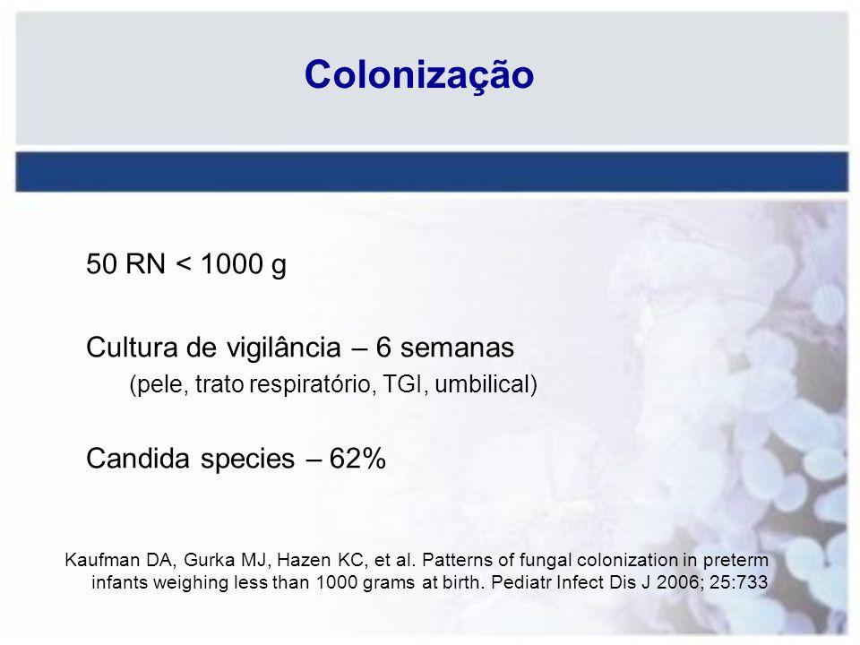 Colonização 50 RN < 1000 g Cultura de vigilância – 6 semanas (pele, trato respiratório, TGI, umbilical) Candida species – 62% Kaufman DA, Gurka MJ, Ha