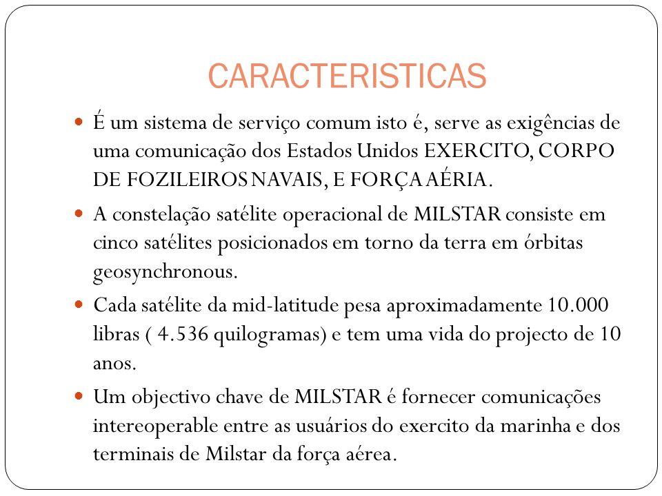 CARACTERISTICAS É um sistema de serviço comum isto é, serve as exigências de uma comunicação dos Estados Unidos EXERCITO, CORPO DE FOZILEIROS NAVAIS,