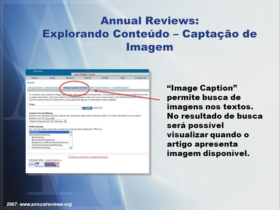 2007: www.annualreviews.org Annual Reviews: Explorando Conteúdo – Captação de Imagem Image Caption permite busca de imagens nos textos.