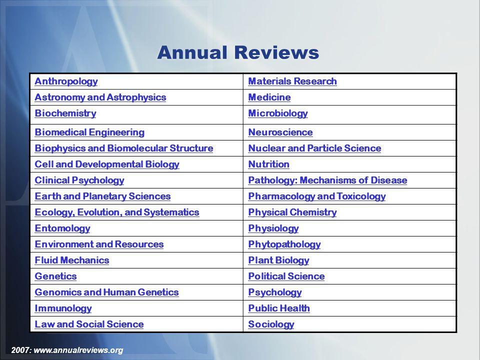 2007: www.annualreviews.org Annual Reviews: Acessando Conteúdos – Home Page das Séries Da home page de cada série é possível visualizar Revisões In Advance (RIA - Rich Internet Application).
