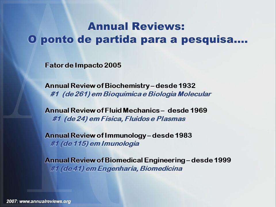 2007: www.annualreviews.org Annual Reviews: Acessando Figuras As ilustrações podem ser visualizadas em múltiplos tamanhos e também podem ser salvas para utilização em apresentações.