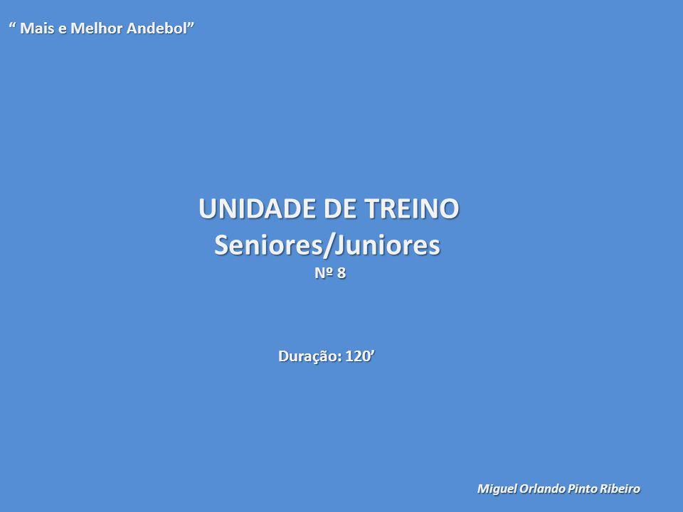 UNIDADE DE TREINO Seniores/Juniores Nº 8 Mais e Melhor Andebol Mais e Melhor Andebol Miguel Orlando Pinto Ribeiro Duração: 120