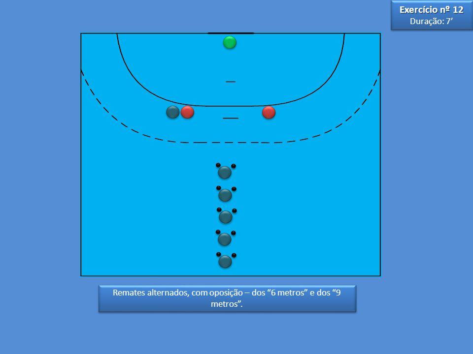 Remates alternados, com oposição – dos 6 metros e dos 9 metros. Exercício nº 12 Duração: 7 Exercício nº 12 Duração: 7