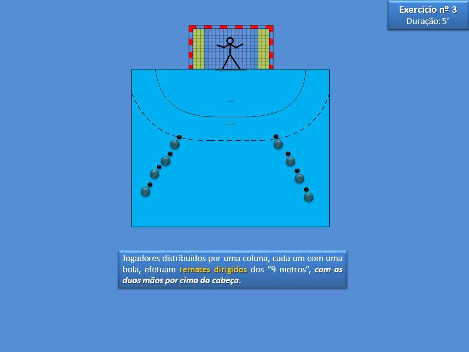 remates dirigidos com as duas mãos por cima da cabeça Jogadores distribuídos por uma coluna, cada um com uma bola, efetuam remates dirigidos dos 9 met