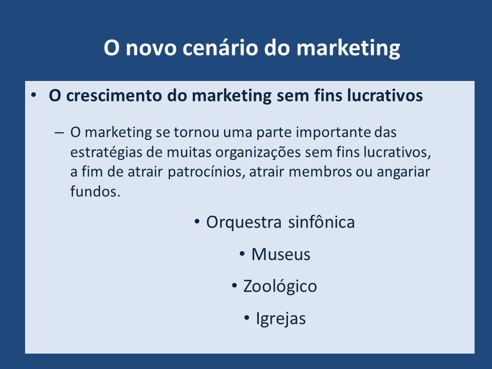 O novo cenário do marketing O crescimento do marketing sem fins lucrativos – O marketing se tornou uma parte importante das estratégias de muitas orga