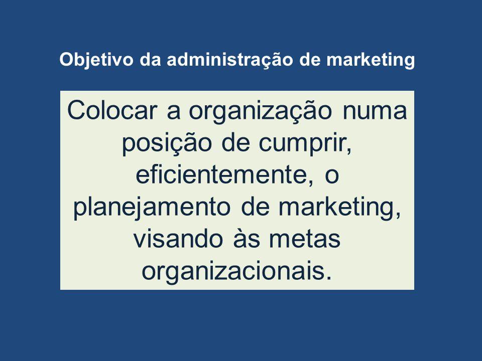 Colocar a organização numa posição de cumprir, eficientemente, o planejamento de marketing, visando às metas organizacionais. Objetivo da administraçã