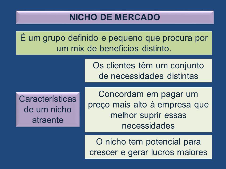 NICHO DE MERCADO É um grupo definido e pequeno que procura por um mix de benefícios distinto. Características de um nicho atraente Os clientes têm um