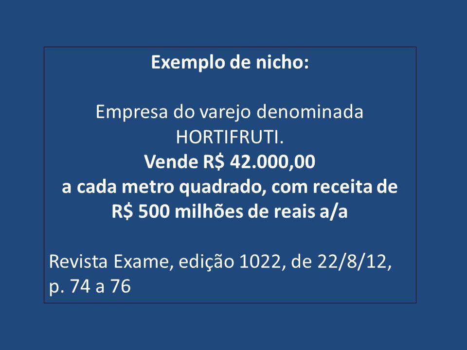 Exemplo de nicho: Empresa do varejo denominada HORTIFRUTI. Vende R$ 42.000,00 a cada metro quadrado, com receita de R$ 500 milhões de reais a/a Revist