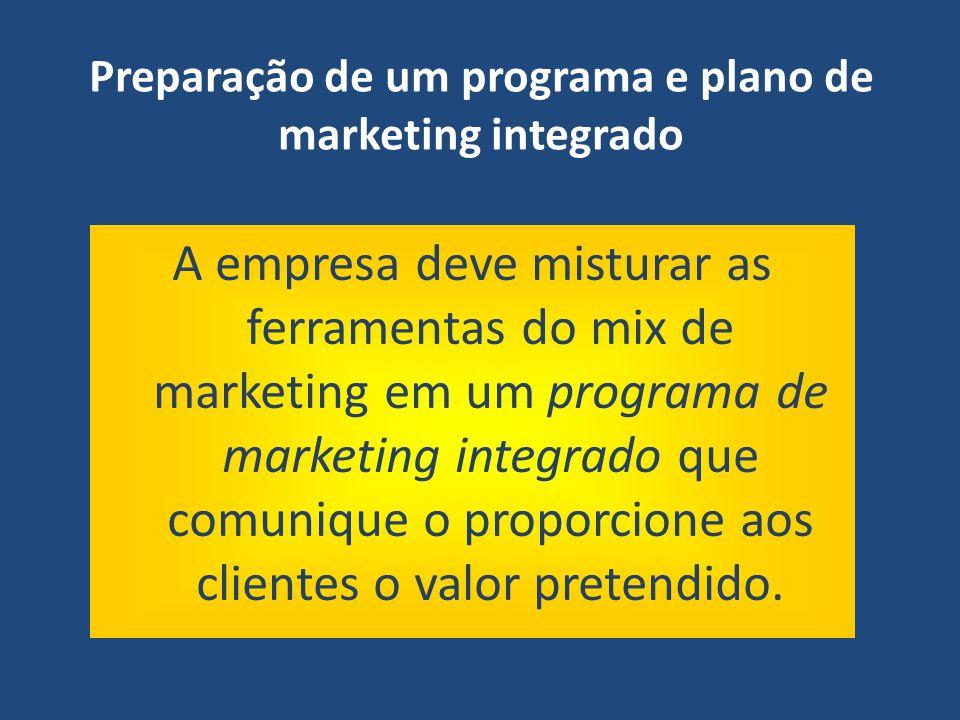Preparação de um programa e plano de marketing integrado A empresa deve misturar as ferramentas do mix de marketing em um programa de marketing integr