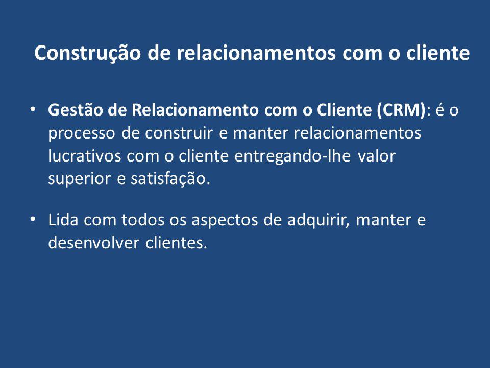 Construção de relacionamentos com o cliente Gestão de Relacionamento com o Cliente (CRM): é o processo de construir e manter relacionamentos lucrativo