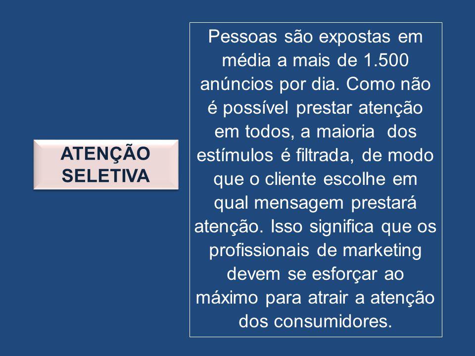 ATENÇÃO SELETIVA Pessoas são expostas em média a mais de 1.500 anúncios por dia. Como não é possível prestar atenção em todos, a maioria dos estímulos