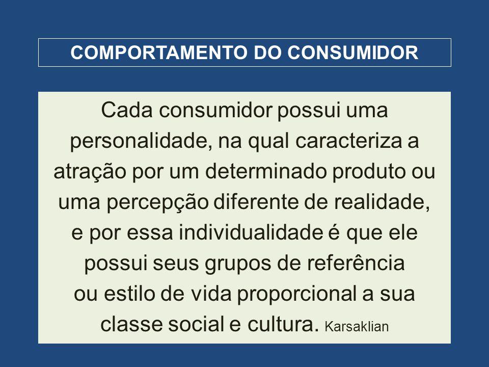 COMPORTAMENTO DO CONSUMIDOR Cada consumidor possui uma personalidade, na qual caracteriza a atração por um determinado produto ou uma percepção difere