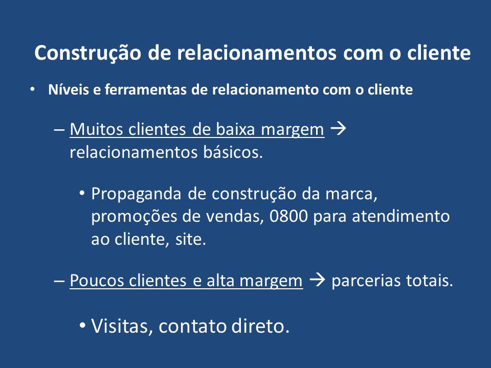 Construção de relacionamentos com o cliente Níveis e ferramentas de relacionamento com o cliente – Muitos clientes de baixa margem relacionamentos bás