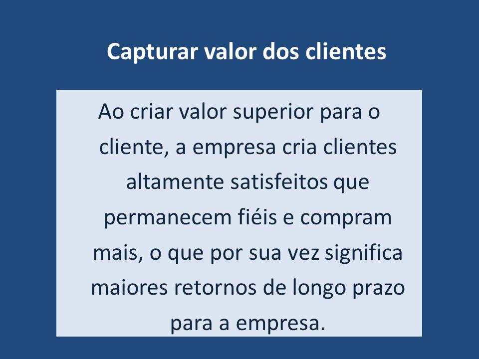 Capturar valor dos clientes Ao criar valor superior para o cliente, a empresa cria clientes altamente satisfeitos que permanecem fiéis e compram mais,