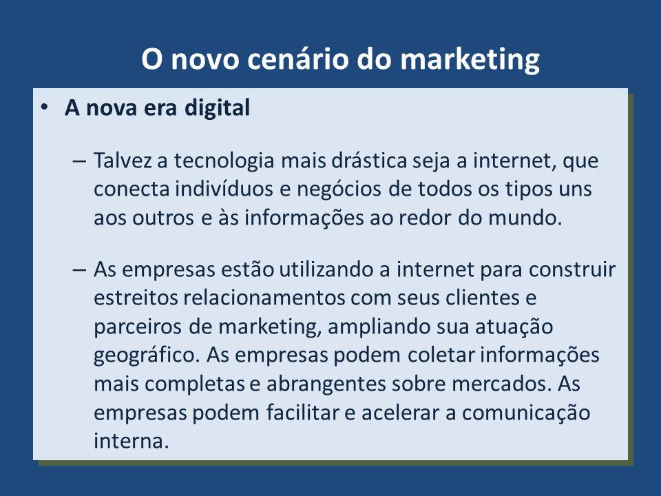 O novo cenário do marketing A nova era digital – Talvez a tecnologia mais drástica seja a internet, que conecta indivíduos e negócios de todos os tipo