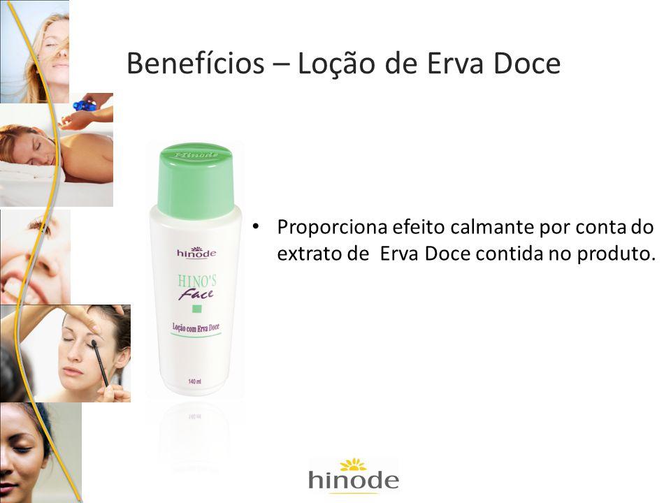 Proporciona efeito calmante por conta do extrato de Erva Doce contida no produto. Benefícios – Loção de Erva Doce