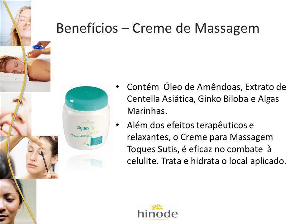 Contém Óleo de Amêndoas, Extrato de Centella Asiática, Ginko Biloba e Algas Marinhas. Além dos efeitos terapêuticos e relaxantes, o Creme para Massage