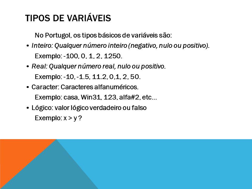 TIPOS DE VARIÁVEIS No Portugol, os tipos básicos de variáveis são: Inteiro: Qualquer número inteiro (negativo, nulo ou positivo).
