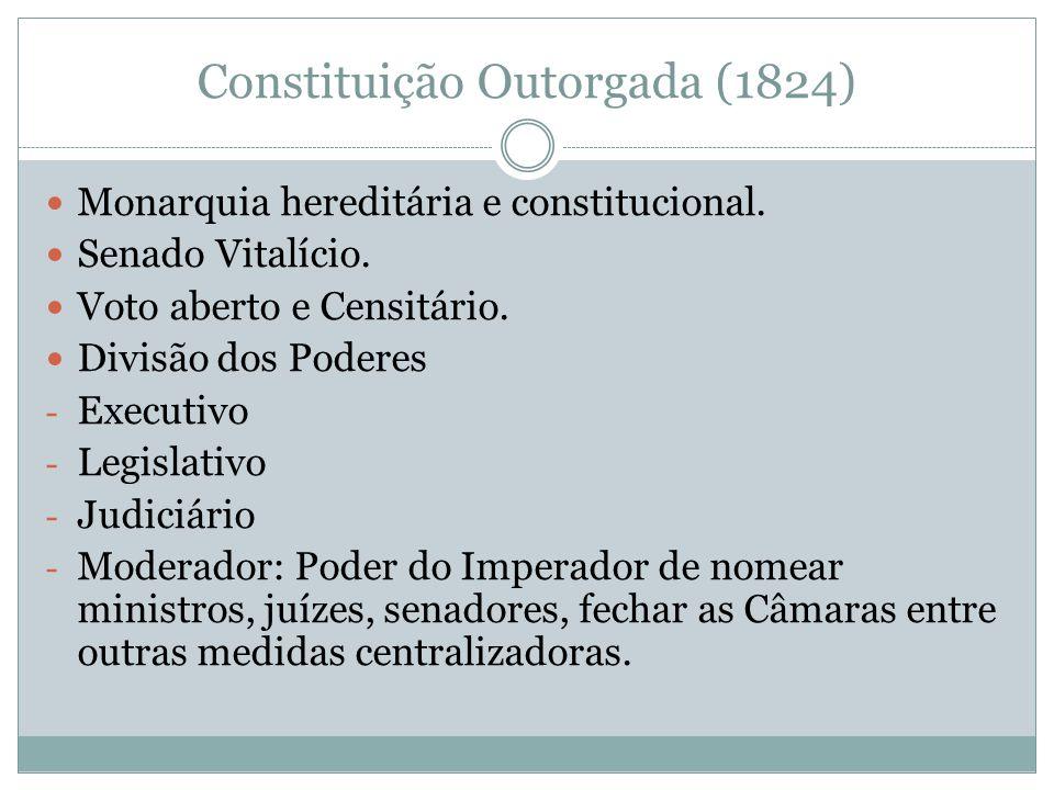 Constituição Outorgada (1824) Monarquia hereditária e constitucional. Senado Vitalício. Voto aberto e Censitário. Divisão dos Poderes - Executivo - Le