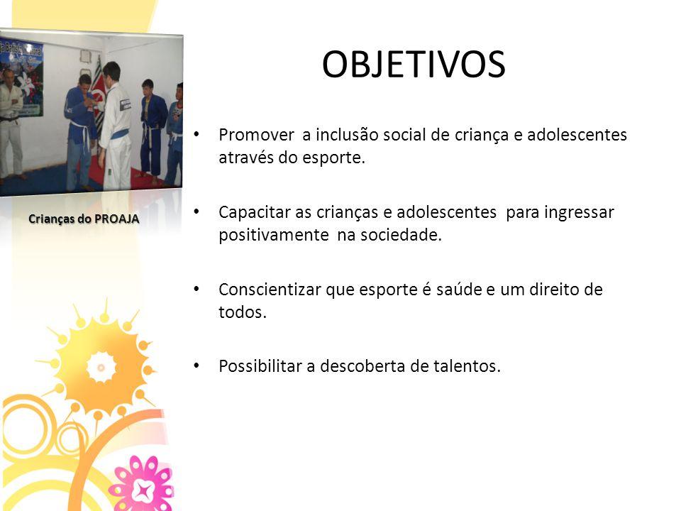 OBJETIVOS Promover a inclusão social de criança e adolescentes através do esporte.