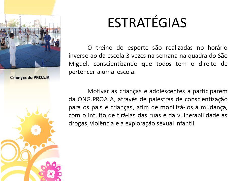 ESTRATÉGIAS O treino do esporte são realizadas no horário inverso ao da escola 3 vezes na semana na quadra do São Miguel, conscientizando que todos tem o direito de pertencer a uma escola.