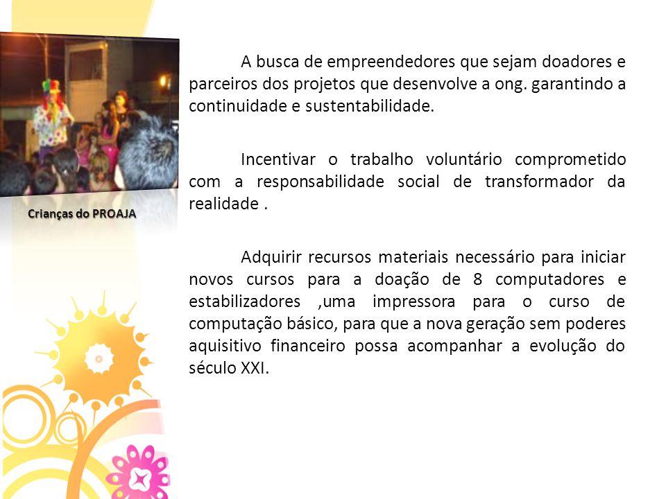 A busca de empreendedores que sejam doadores e parceiros dos projetos que desenvolve a ong.