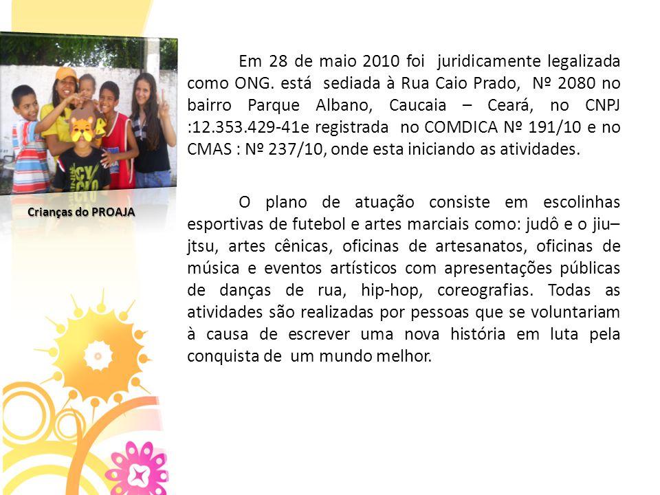 Em 28 de maio 2010 foi juridicamente legalizada como ONG.