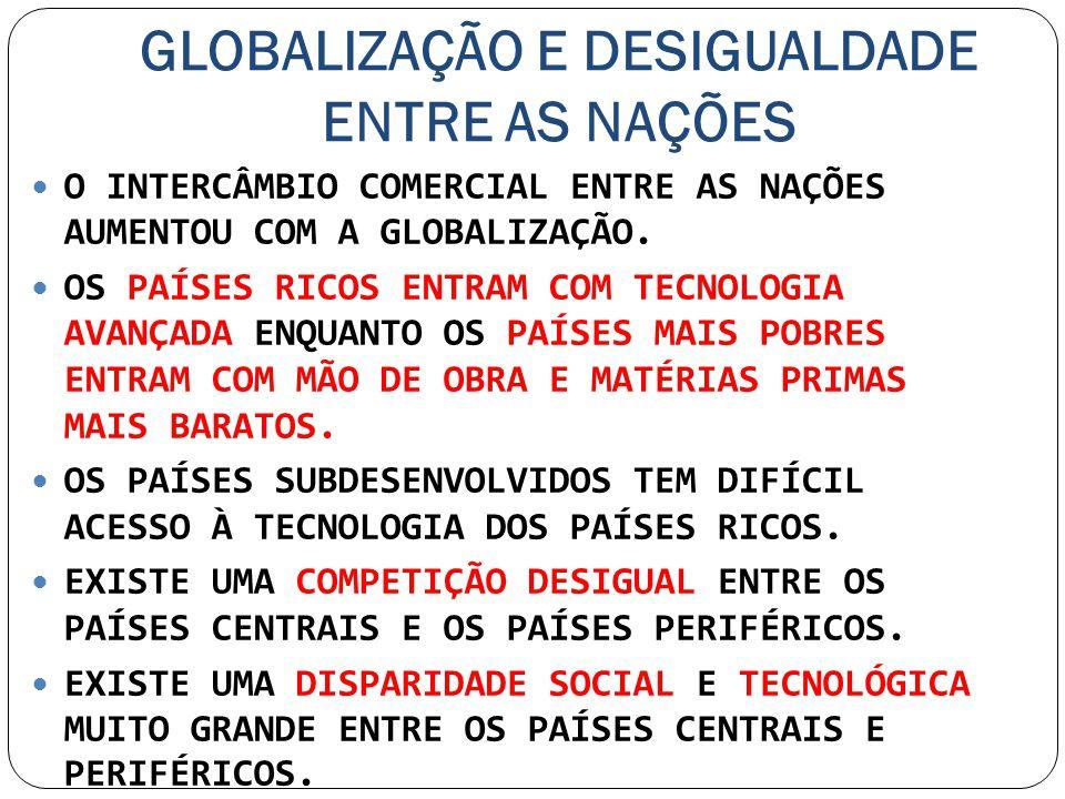 GLOBALIZAÇÃO E DESIGUALDADE ENTRE AS NAÇÕES O INTERCÂMBIO COMERCIAL ENTRE AS NAÇÕES AUMENTOU COM A GLOBALIZAÇÃO. OS PAÍSES RICOS ENTRAM COM TECNOLOGIA