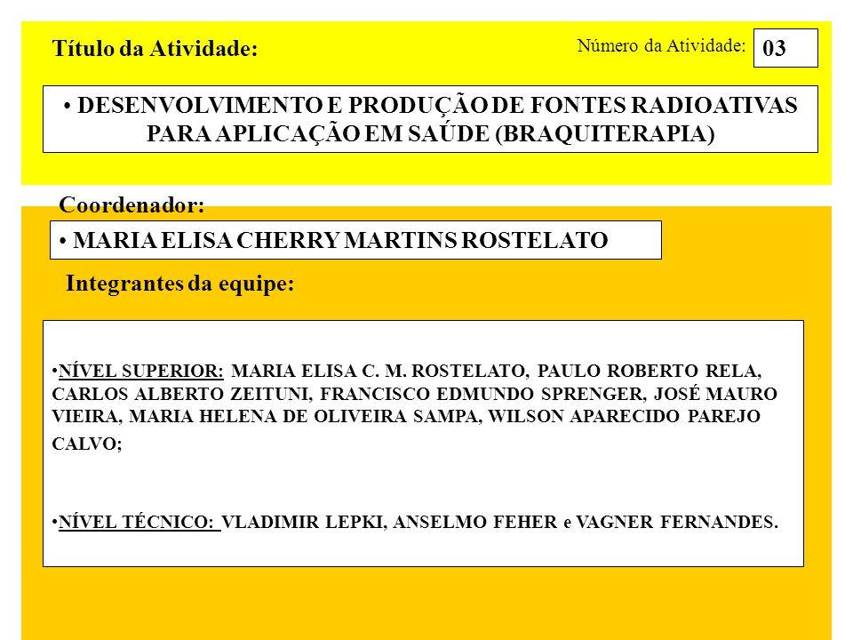 Título da Atividade: DESENVOLVIMENTO E PRODUÇÃO DE FONTES RADIOATIVAS PARA APLICAÇÃO EM SAÚDE (BRAQUITERAPIA) 03 Coordenador: MARIA ELISA CHERRY MARTI