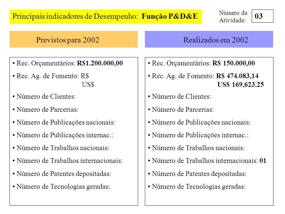 Principais indicadores de Desempenho: Função P&D&E Previstos para 2002Realizados em 2002 Rec. Orçamentários: R$1.200.000,00 Rec. Ag. de Fomento: R$ US