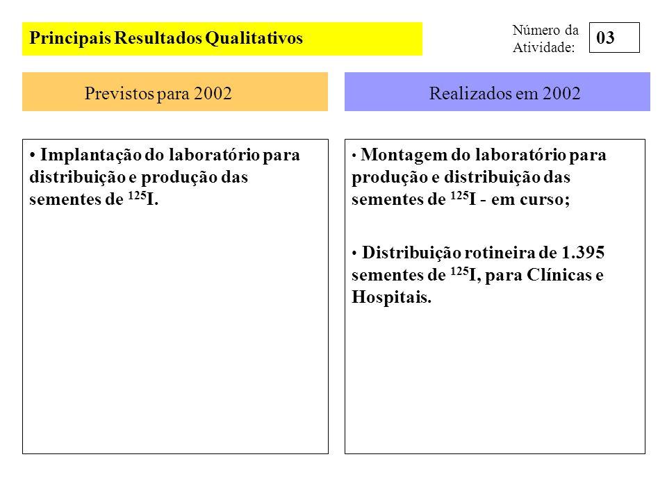 Principais Resultados Qualitativos Previstos para 2002Realizados em 2002 Implantação do laboratório para distribuição e produção das sementes de 125 I
