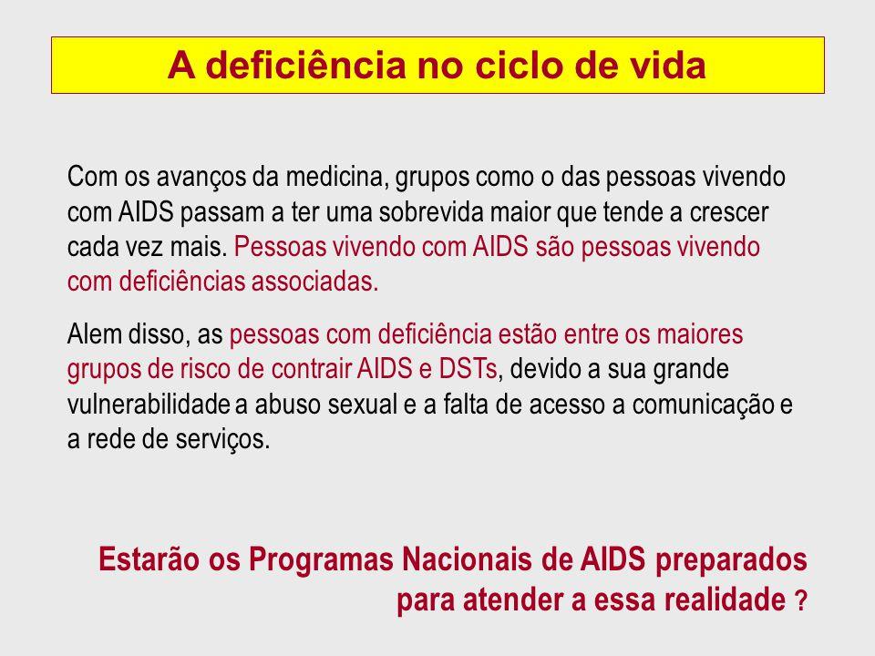 Com os avanços da medicina, grupos como o das pessoas vivendo com AIDS passam a ter uma sobrevida maior que tende a crescer cada vez mais. Pessoas viv