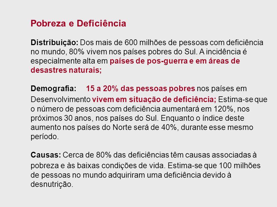 Pobreza e Deficiência Distribuição: Dos mais de 600 milhões de pessoas com deficiência no mundo, 80% vivem nos países pobres do Sul. A incidência é es