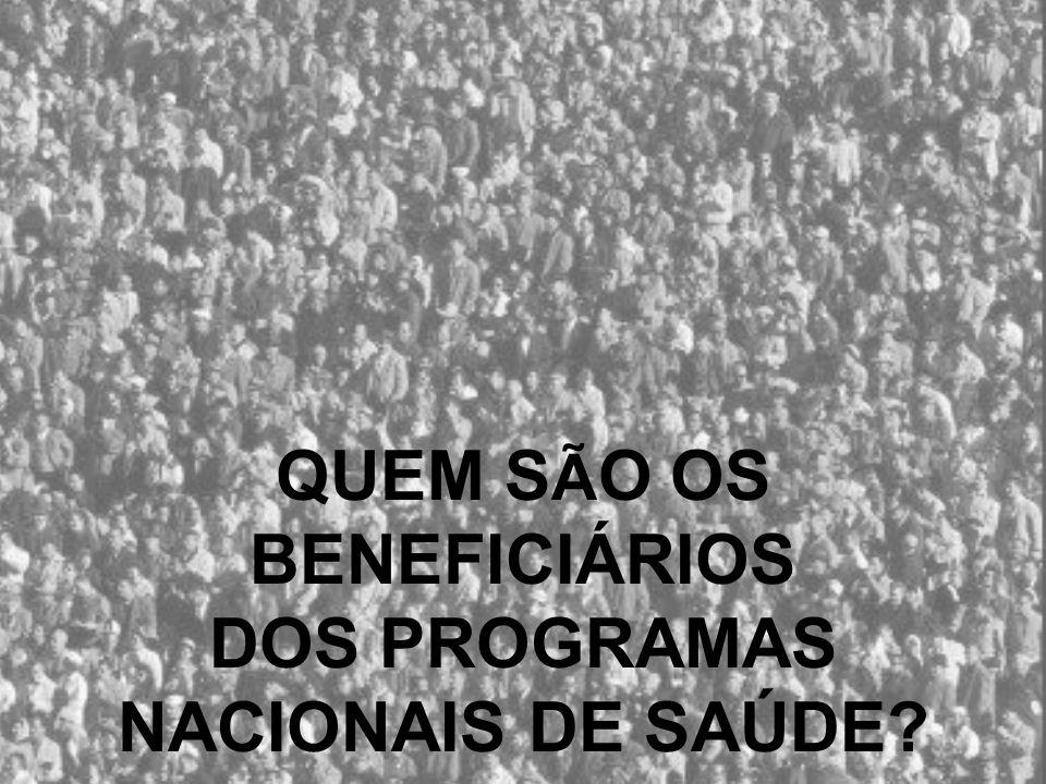 População Urbana em Portugal Fonte: ONU – Prospectivas de Urbanização no Mundo QUEM S Ã O OS BENEFICIÁRIOS DOS PROGRAMAS NACIONAIS DE SAÚDE?