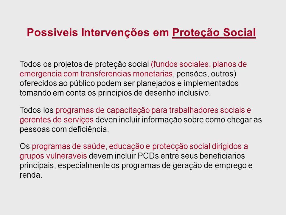 Todos os projetos de proteção social (fundos sociales, planos de emergencia com transferencias monetarias, pensões, outros) oferecidos ao público pode