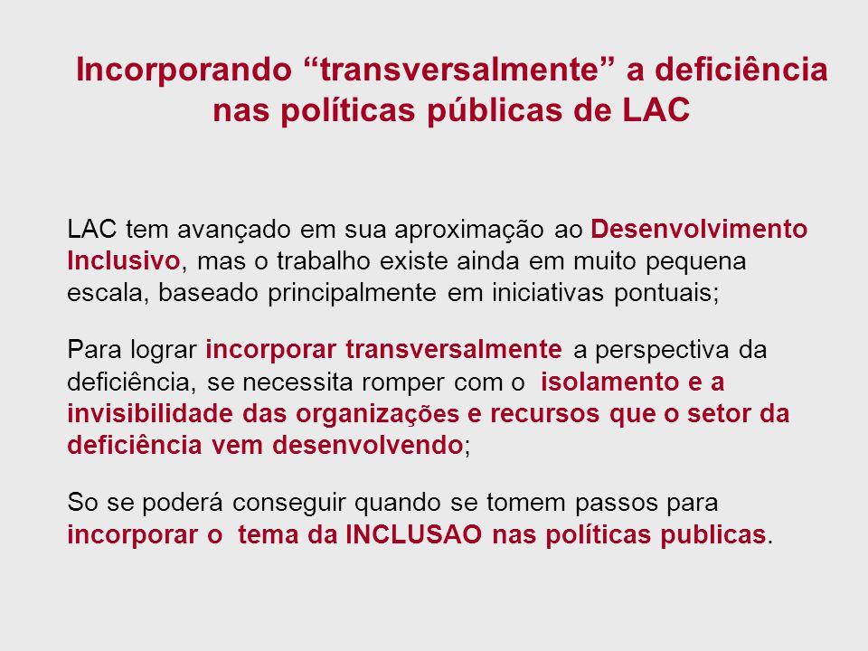 Incorporando transversalmente a deficiência nas políticas públicas de LAC LAC tem avançado em sua aproximação ao Desenvolvimento Inclusivo, mas o trab