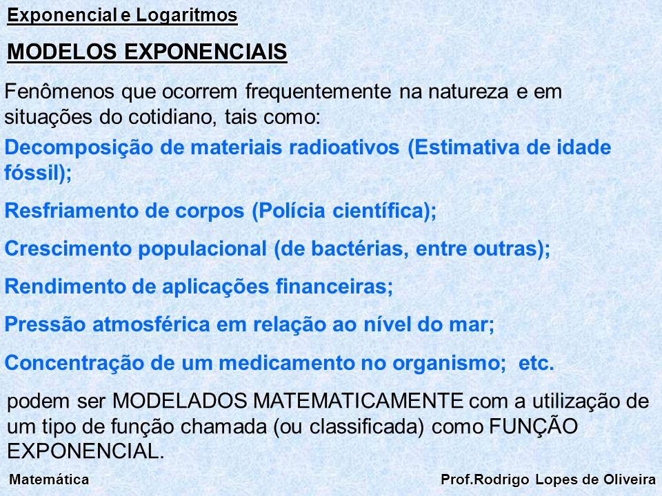 Exponencial e Logaritmos Matemática Prof.Rodrigo Lopes de Oliveira MODELOS EXPONENCIAIS Fenômenos que ocorrem frequentemente na natureza e em situaçõe