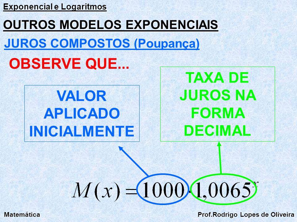 Exponencial e Logaritmos Matemática Prof.Rodrigo Lopes de Oliveira OUTROS MODELOS EXPONENCIAIS JUROS COMPOSTOS (Poupança) OBSERVE QUE... VALOR APLICAD