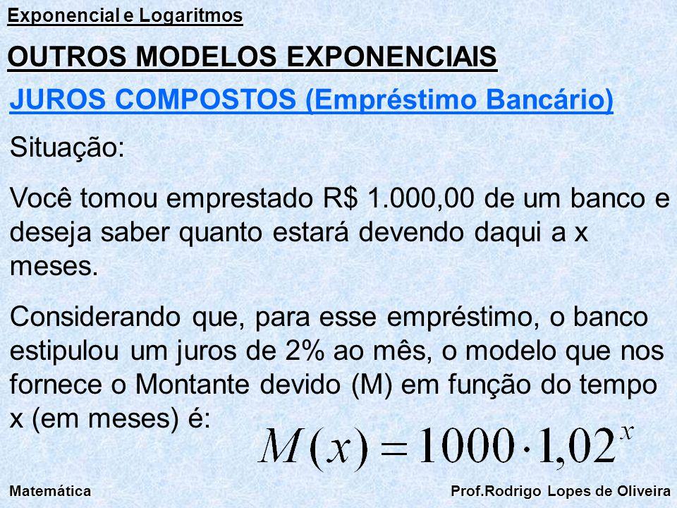 Exponencial e Logaritmos Matemática Prof.Rodrigo Lopes de Oliveira OUTROS MODELOS EXPONENCIAIS JUROS COMPOSTOS (Empréstimo Bancário) Situação: Você to