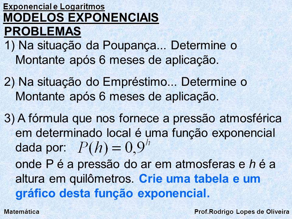 Exponencial e Logaritmos Matemática Prof.Rodrigo Lopes de Oliveira MODELOS EXPONENCIAIS PROBLEMAS 1) Na situação da Poupança... Determine o Montante a