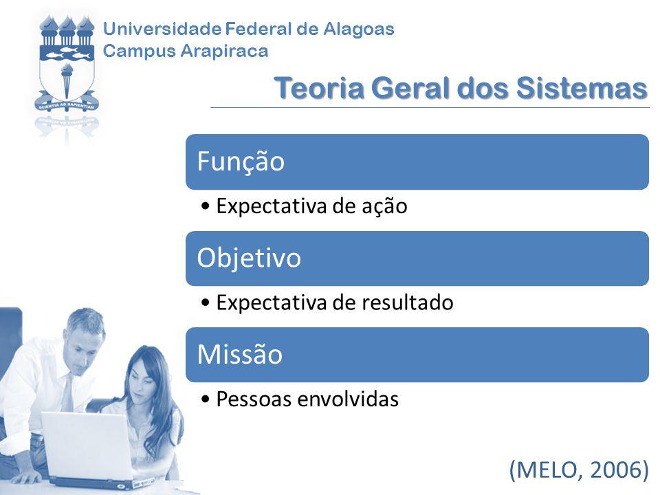 Universidade Federal de Alagoas Campus Arapiraca Teoria Geral dos Sistemas (MELO, 2006) Função Expectativa de ação Objetivo Expectativa de resultado M