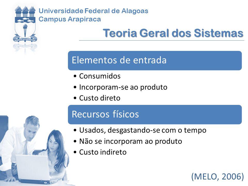 Universidade Federal de Alagoas Campus Arapiraca Teoria Geral dos Sistemas (MELO, 2006) Elementos de entrada Consumidos Incorporam-se ao produto Custo