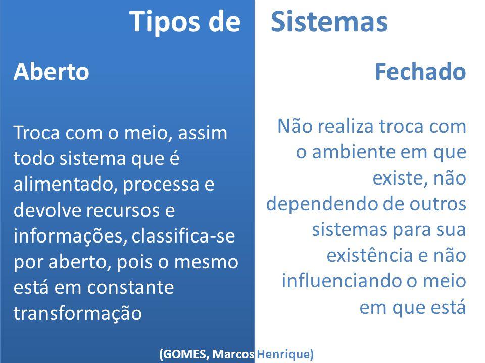 (GOMES, Marcos Henrique) Tipos de Sistemas Aberto Troca com o meio, assim todo sistema que é alimentado, processa e devolve recursos e informações, cl