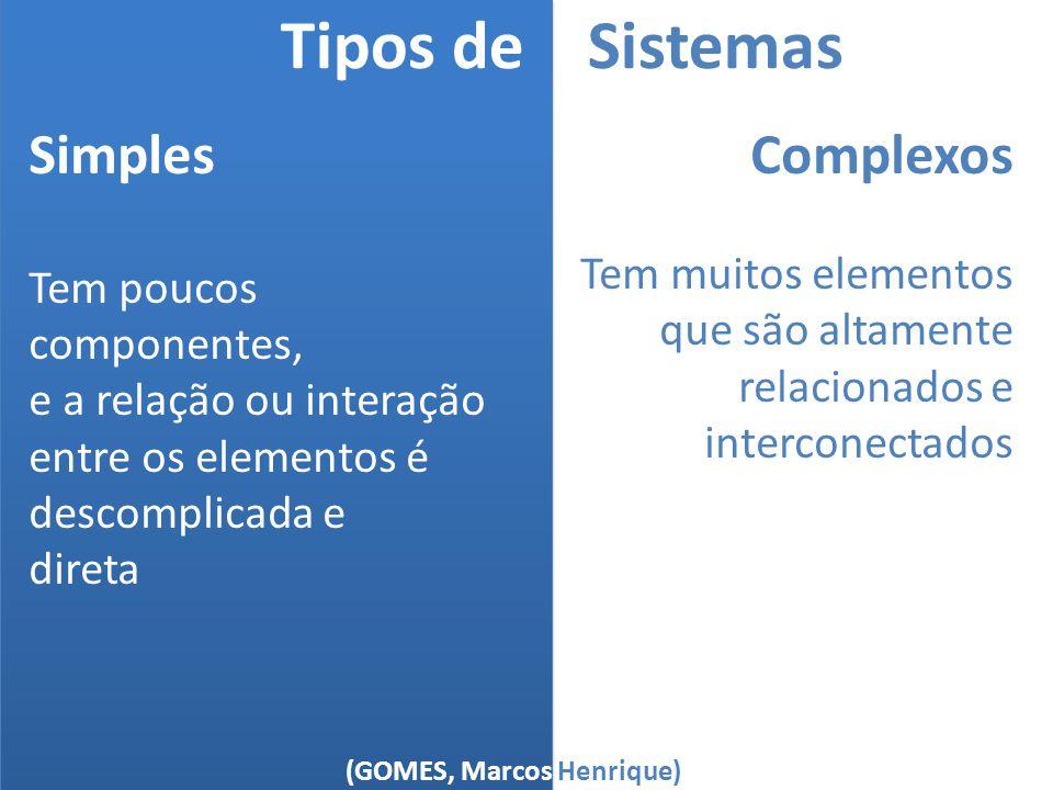 (GOMES, Marcos Henrique) Tipos de Sistemas Simples Tem poucos componentes, e a relação ou interação entre os elementos é descomplicada e direta Comple