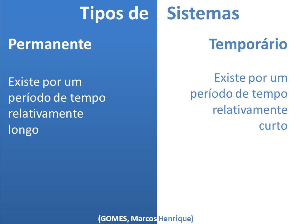 (GOMES, Marcos Henrique) Tipos de Sistemas Permanente Existe por um período de tempo relativamente longo Temporário Existe por um período de tempo rel