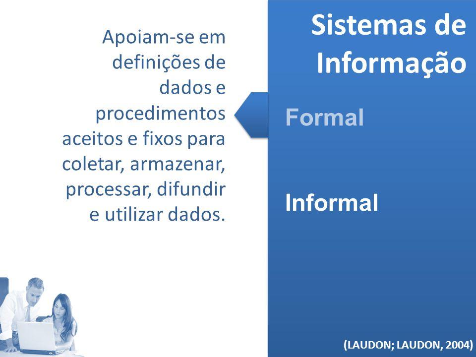 (MELO, 2006) Sistemas de Informação Formal Informal (LAUDON; LAUDON, 2004) Apoiam-se em definições de dados e procedimentos aceitos e fixos para colet