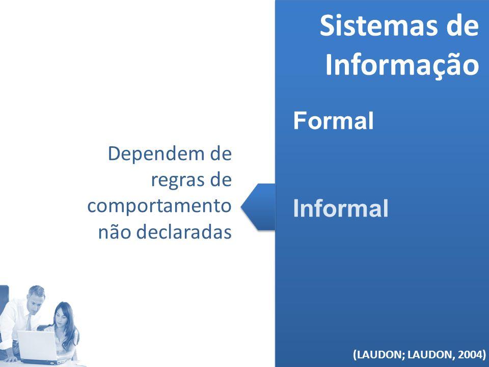 (MELO, 2006) Sistemas de Informação Formal Informal (LAUDON; LAUDON, 2004) Dependem de regras de comportamento não declaradas