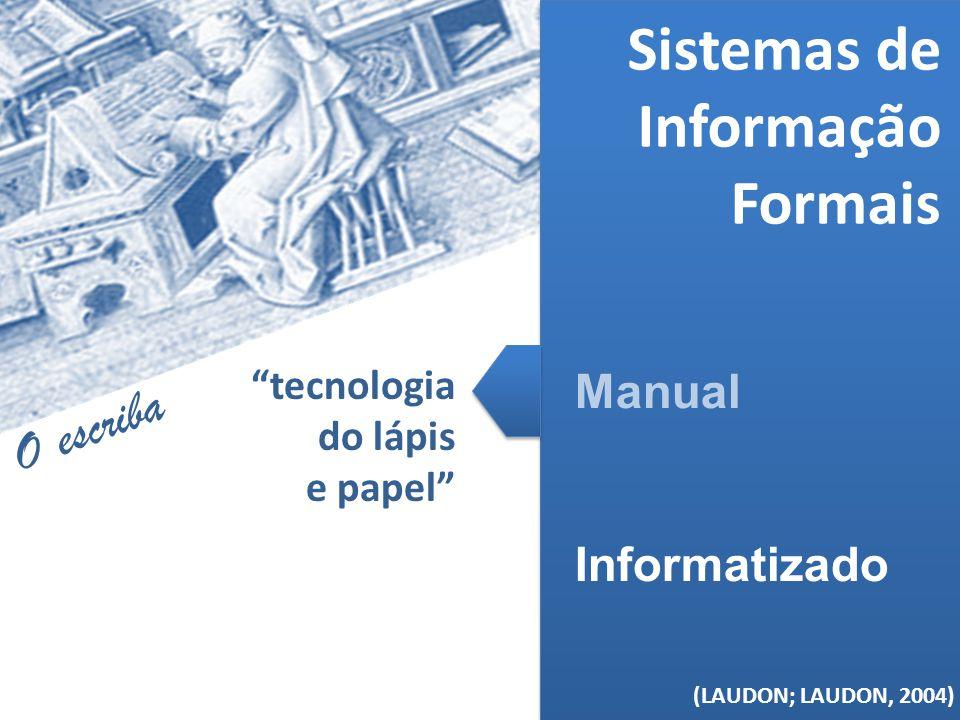 (MELO, 2006) Sistemas de Informação Formais Manual Informatizado (LAUDON; LAUDON, 2004) tecnologia do lápis e papel O escriba